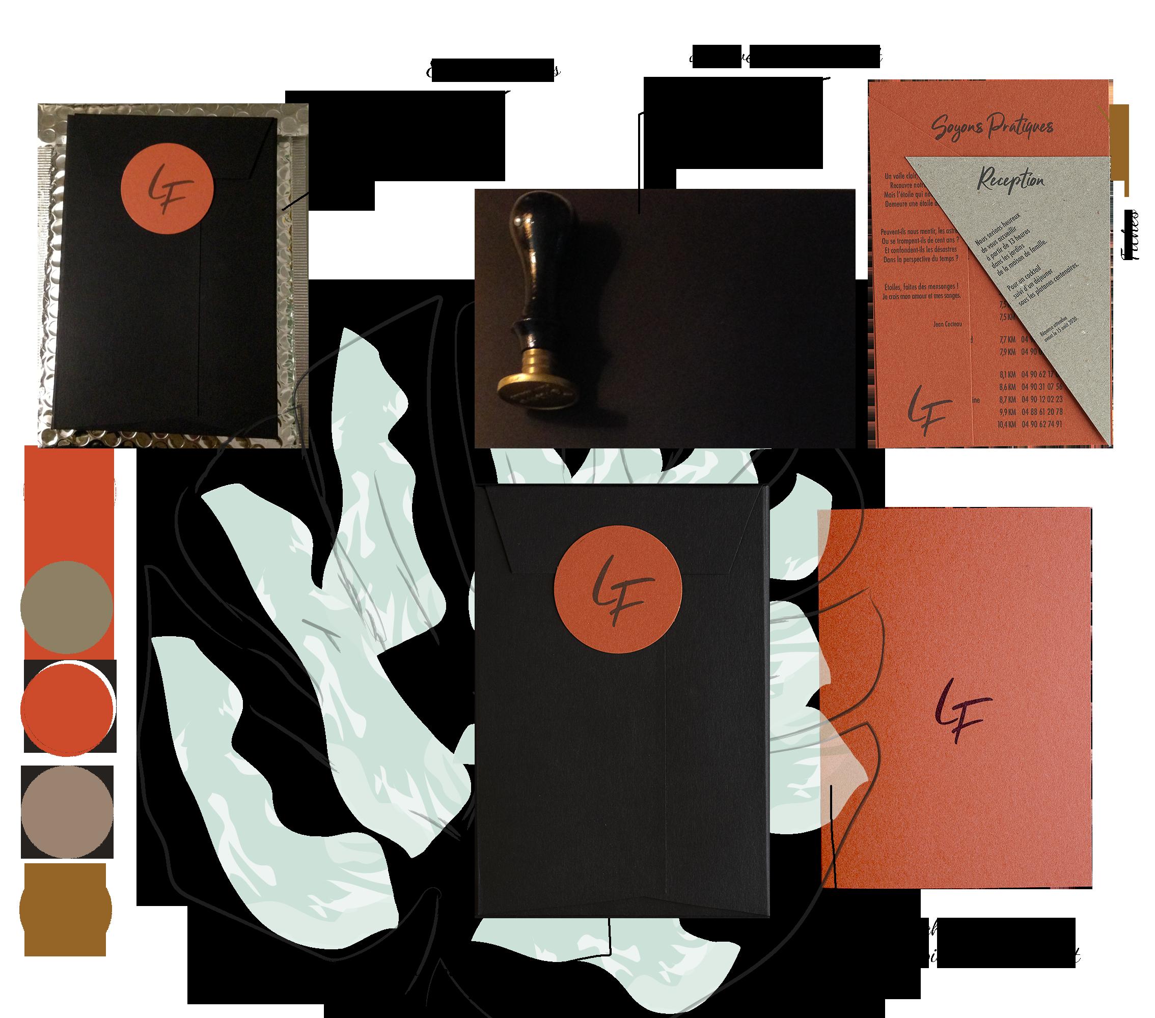 Faire part terra-cotta avec un étui, une pochette, des fiches ainsi que son marque page dédié à la poésie