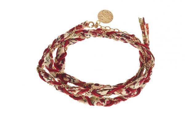 Bracelet bi matières, cordon liberty